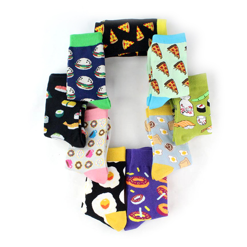 Dessert Food Avocado Women Socks Omelette Sushi Apple Fruit Socks Short Funny Cotton Men Happy Creative Pattern Socks Female