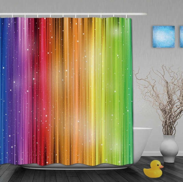 Magic Striped Rainbow Shower Curtains Waterproof Fabric Bathroom Curtain With Hooks Custom For Home