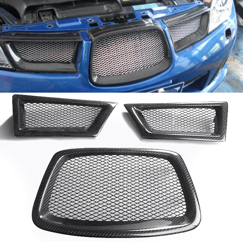 3pcs Carbon Fiber Frame Front Mesh Grill Grille For Subaru Impreza WRX STi 9th 2006-2007 carbon fiber front headlight cover eyelid eyebrow for subaru impreza 9th 05 06