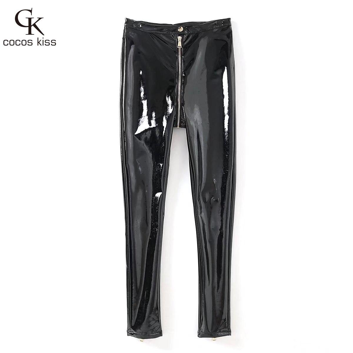 2018 New Fashion Cool Wonderful Leather Black Shiny Zipper Stretch Slim Hot Attractive Temperament Beautiful Womens Trousers