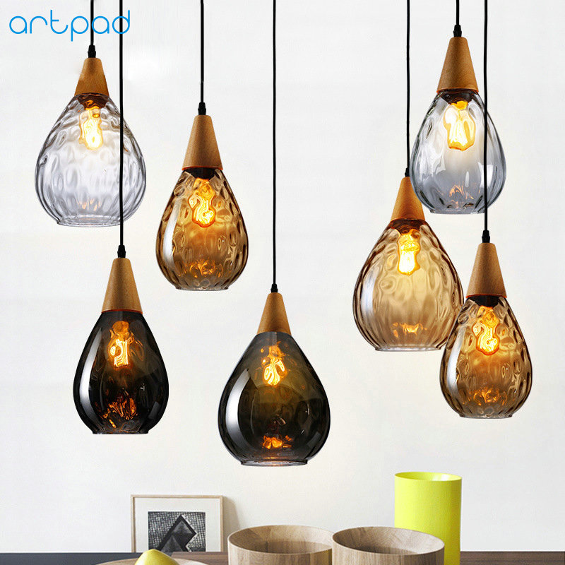 Artpad Nordic Wooden&Glass Pendant Light For Living Room Water Drop Shape E27 Dining Room Pendant Lamp Hanging Fixtures