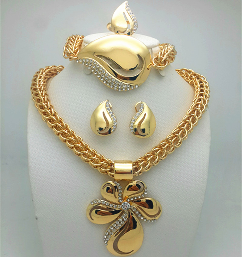 NEWS Saudi Gold Color Nigerian Wedding Jewelry Set Bridal Dubai