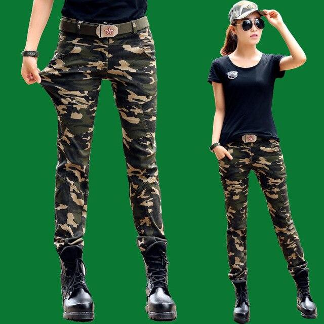 Mujeres Pantalones Cargo Pantalones de Camuflaje para el Ejército Pantalon  Femme aa11393b230a