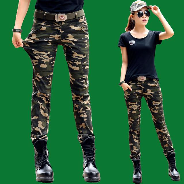 Mujeres Pantalones Cargo Pantalones de Camuflaje para el Ejército Pantalon Femme