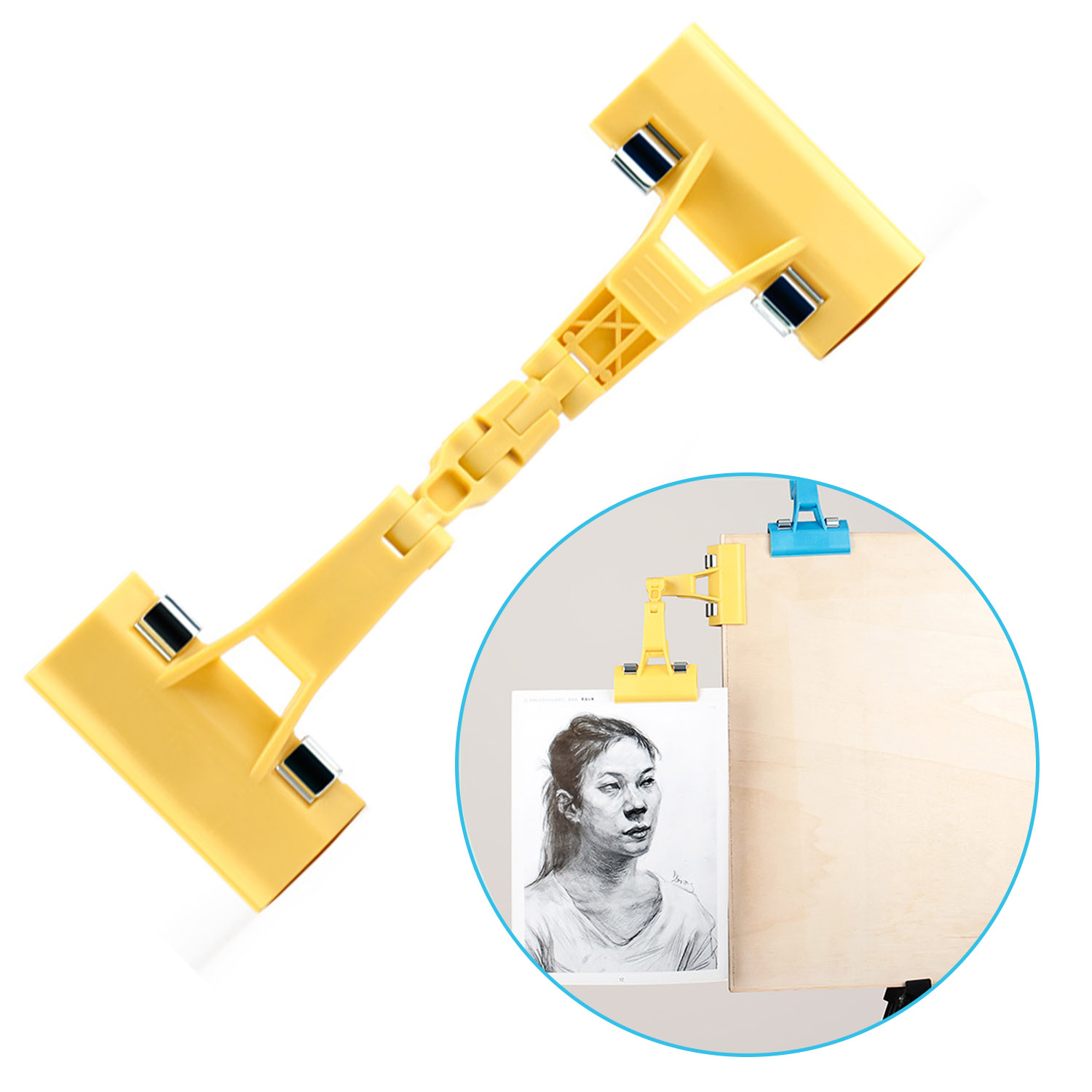 Double Head Rotatable Picture Copy Holder Painting Clip Clamp for Artist Easels Sketch Drawing Boards Random ColorDouble Head Rotatable Picture Copy Holder Painting Clip Clamp for Artist Easels Sketch Drawing Boards Random Color