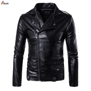2018 Men's Leather Jackets Black Motorcycle Leather Jacket For Men Faux Leather Coats Turn Down Collar PU Jackets Overcoats 5XL