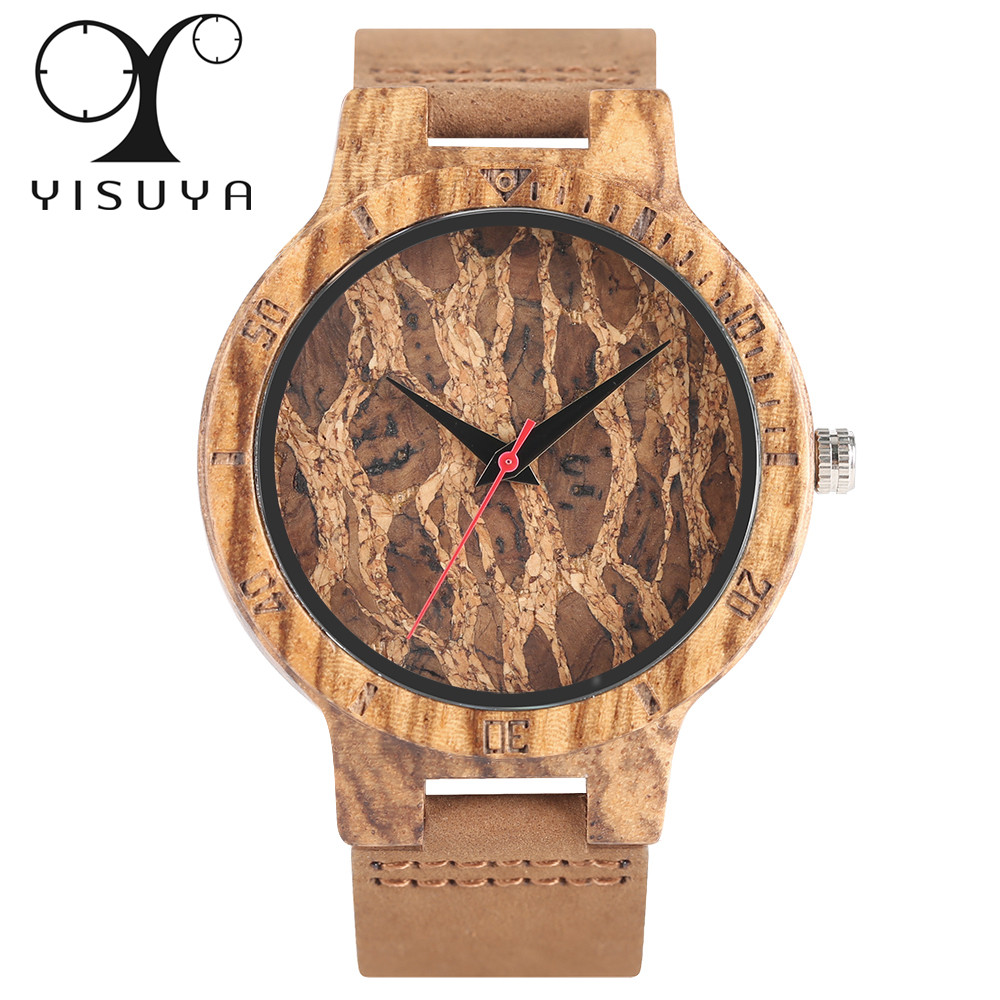 YISUYA Creative Zebra/Cork Slag/Broken Leaves Face Nature Wood Watch Men Genuine Leather Strap Analog Women Bangle Wristwatch yisuya fashion nature wood wrist watch men analog sport bamboo black genuine leather band strap for men women gift relogio clock page 5