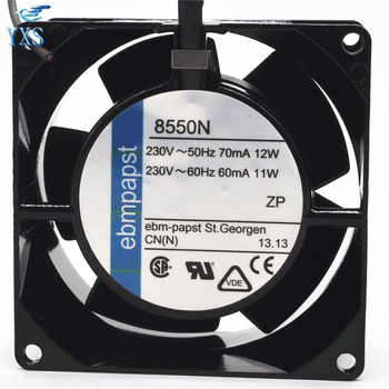 TYP 8550N AC 230V 11W/12W 0.06A/0.07A 50/60HZ 2700RPM 2 Wires 8038 8cm 80*80*38mm All Metal High Temperature Axial Cooling Fan