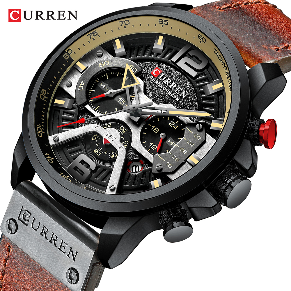 Montre-bracelet hommes CURREN 2019 Top marque de luxe montre de sport hommes mode montres en cuir avec calendrier pour hommes noir homme horloge
