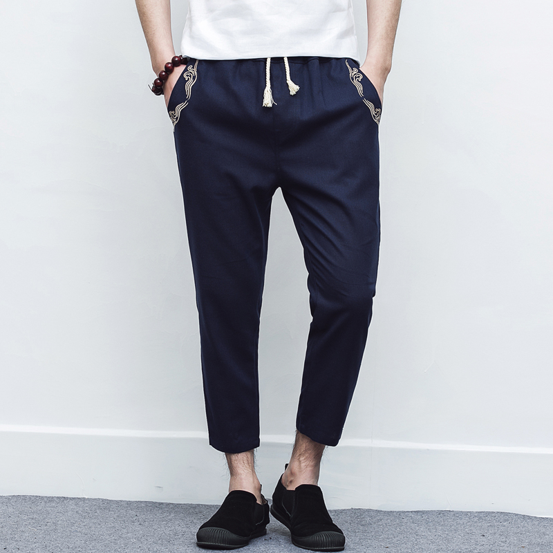 Casual Pants Thin Cotton Linen Male Men's of Section Embroidery 9-Points