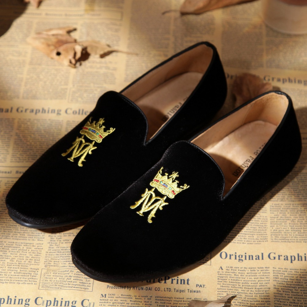 bd72a35f120bf velvet loafer for men hot sale flag motif black velvet shoes US size 6 13  Free Shipping-in Women's Flats from Shoes on Aliexpress.com | Alibaba Group