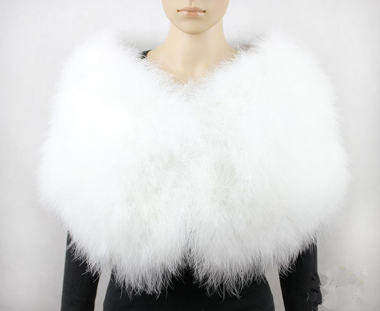 Feather Bolero Bride Shawl Femme Poncho Fur Cape Women Wedding Shawl Wraps Furry White Real Ostrich Feather Fur Scarf S411