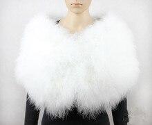 feather bolero bride shawl femme poncho fur cape women wedding wraps furry white real ostrich scarf S411