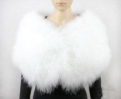 feather bolero bride shawl femme poncho fur cape women wedding shawl wraps furry white real ostrich feather fur scarf S411