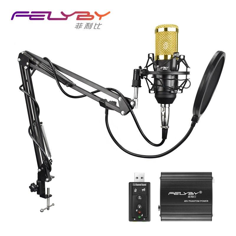 Felyby BM800 700 Высокое качество профессиональный конденсаторный микрофон podcast studio mic для портативных ПК фантомное питание фильтр звуковая карта