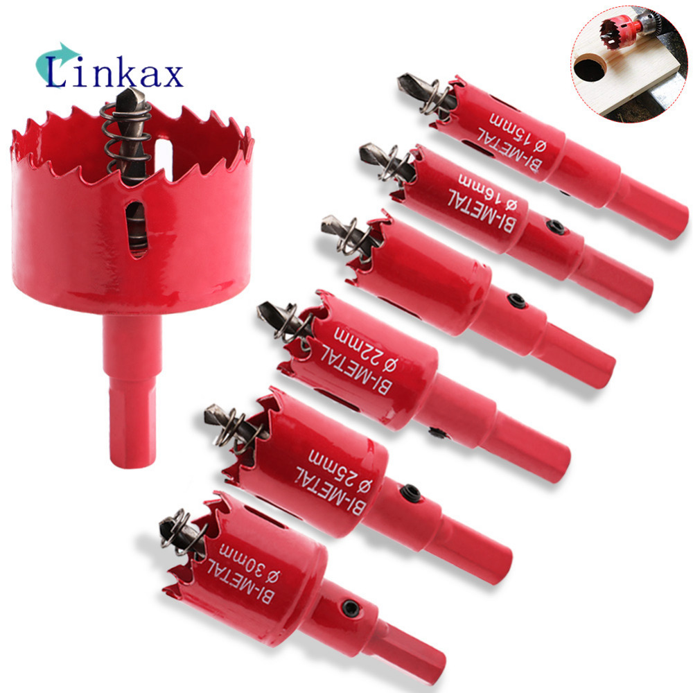 Red Hole Saw Drill Bit Cutter Metal Twist Drill Bits M42 HSS Steel Drilling Kit Opener Carpentry Tools Holesaw For Wood Steel