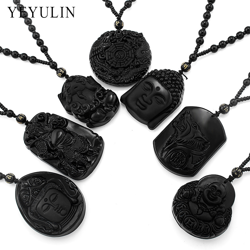Wonderful Carved Buddha Guanyin Maitreya Lion Black Obsidian Lucky Blessing Pendant Necklace Jewelry For Woman Men