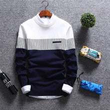 M2019 spring and autumn casual mens sweater O-neck striped slim pullover