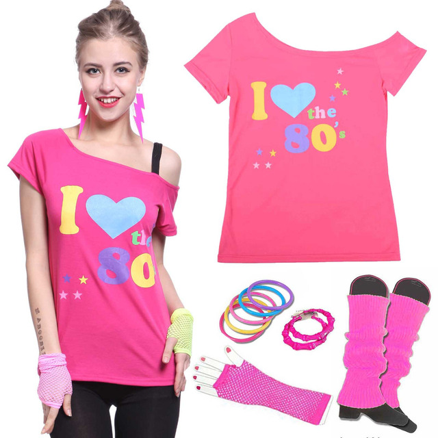 Womenu0027s I love 80s Costume with Accessories 1980s Retro Disco Dance Rock N Roll Theme Party  sc 1 st  AliExpress.com & Womenu0027s I love 80s Costume with Accessories 1980s Retro Disco Dance ...
