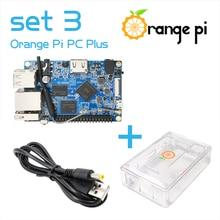 Orange Pi PC Plus set 3 : PC Plus + ABS حافظة شفافة + USB إلى تيار مستمر 4.0 مللي متر 1.7 مللي متر كابل الطاقة