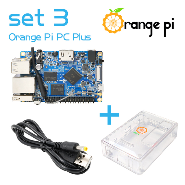 Orange Pi PC Plus set de 3, PC Plus, boîtier Transparent, ABS, USB vers DC 4.0MM 1.7MM, câble dalimentation