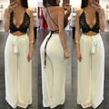 2016 summer loose two piece set women lace crop top bangdage sexy plus size women suspenders chiffon pant sets XD824