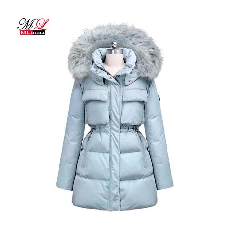 MLinina женская зимняя 2018 парка тонкая куртка теплая утолщенная куртка высокое качество меховой воротник пальто утка вниз парка женская верхн...