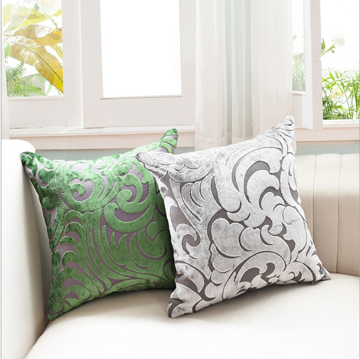 Luxurious Flocking Velvet Pillow Cover Grey Decorative