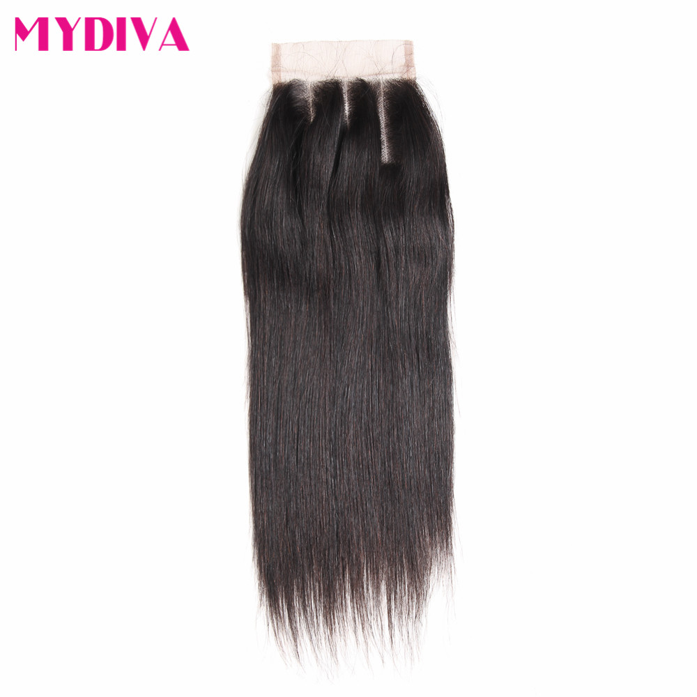 Mydiva Brazilian Straight Closure Human Hair Free/Middle/Three Part Lace Closure 4 x 4 Inch 8-20 Natural Color Non Remy Mydiva