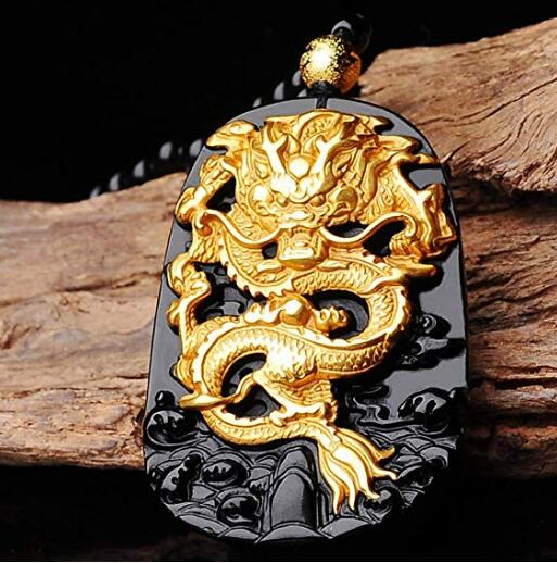EASTCODE charmant 999 pur or incrusté obsidienne naturelle noir Jades Dragon pendentif collier - 5