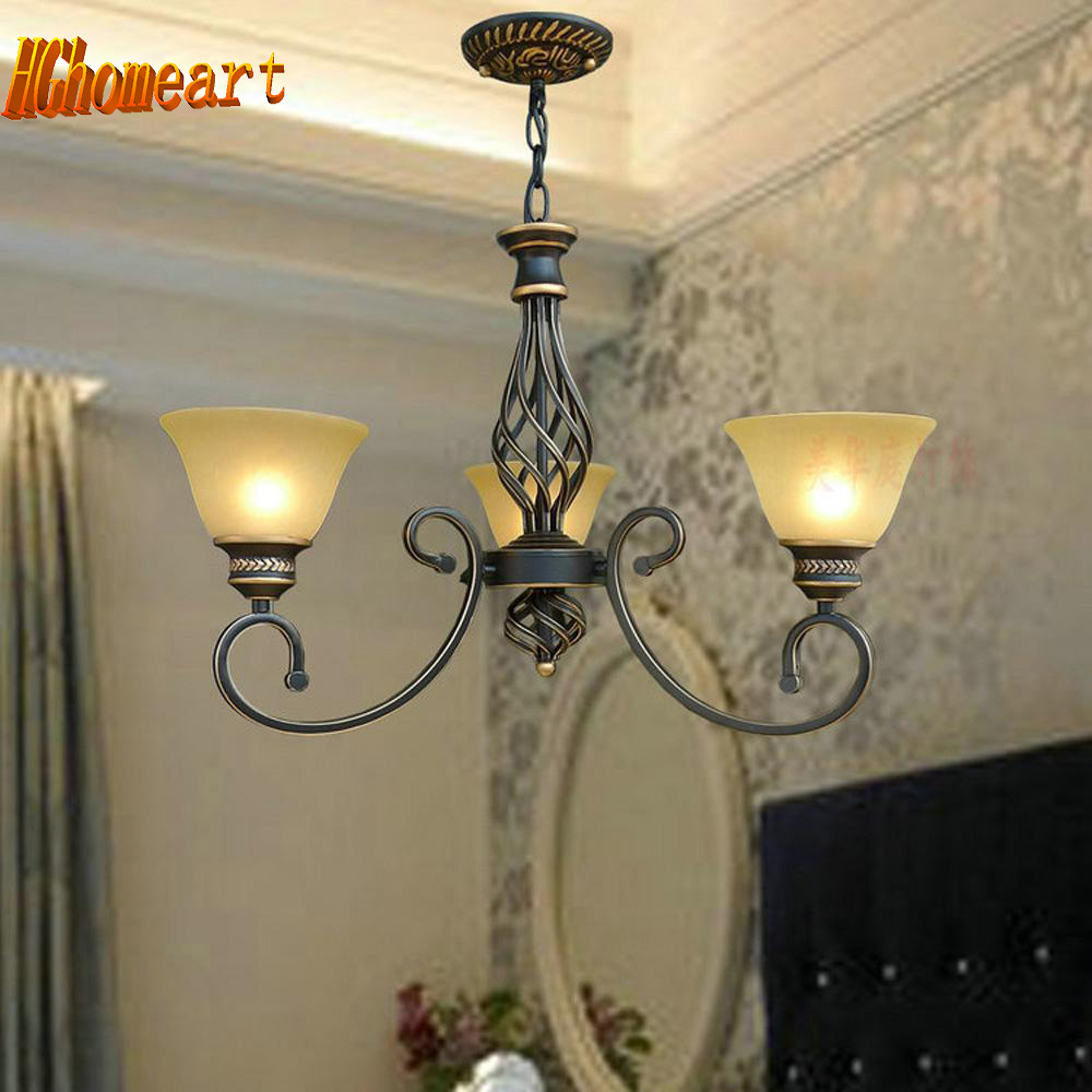 High Quality 3 Head Nordic Vintage Wrought Iron Chandelier Led E27 110V-220V Dining Room Lights Suspension Luminaire Lamp