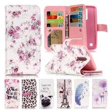 3D Рельеф Coque LG K10 Чехол Кожаный Чехол + Силиконовый Чехол Для Телефона LG K10 Крышка Цветочный Окрашены Случае LG K10 Откидная Крышка LGK10 Fundas