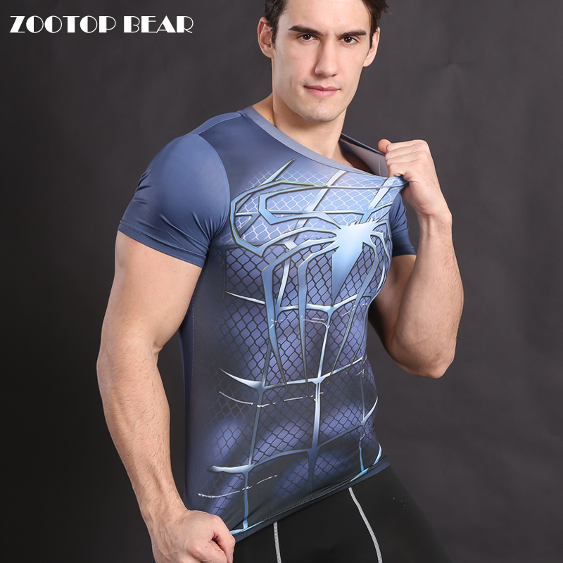 Spiderman T shirt Compression Superhero T shirt Men Top Crossfit Tee Male Armor Cosplay Costume Fitness Bodybuilding ZOOTOP BEAR