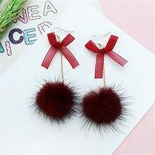 New fashion cute plush ball Sweet bowknot Long dangler earrings Fashion exquisite ear clip