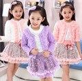 2016 nova primavera vestuário infantil meninas coreanas senhoras Lei malha de fios de renda flores saia terno de três peças