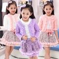 2016 nueva primavera ropa Coreana muchachas de las señoras Lei malla de hilo de encaje de flores de la falda traje de tres piezas