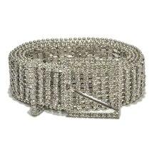 New Fashion luxury womens rhinestone belt female eight row bright bride wide bling crystal diamond waist chain rhinestones