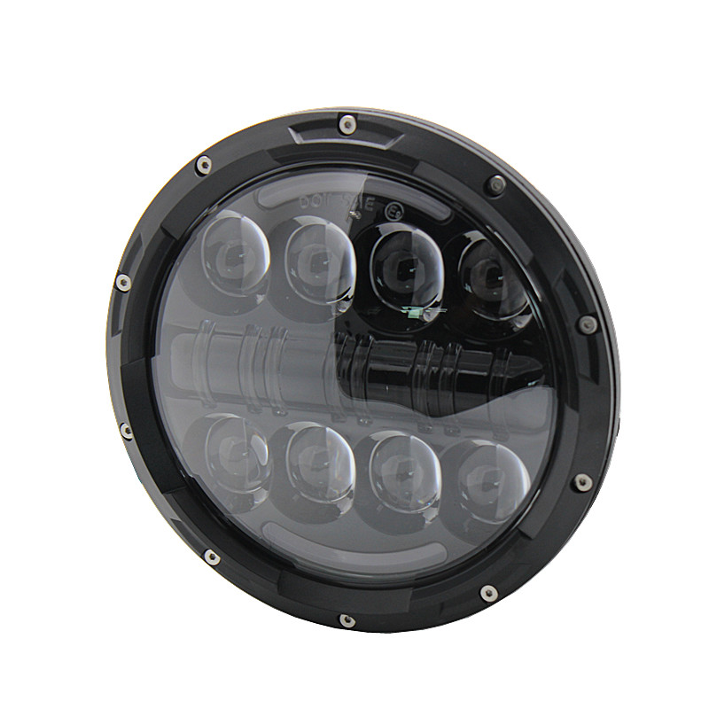7inch Motorcycle Projector LED Headlight 80W with DRL Turn Signal For Harley Davidson And Wrangler Land Rover defender
