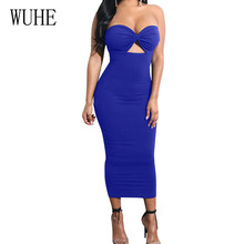 WUHE Strapless Sexy Summer Dress Elegant Off Shoulder Sleeveless Bodycon Bandage Pencil Women Hollow Out Party Slim Dresses цена и фото