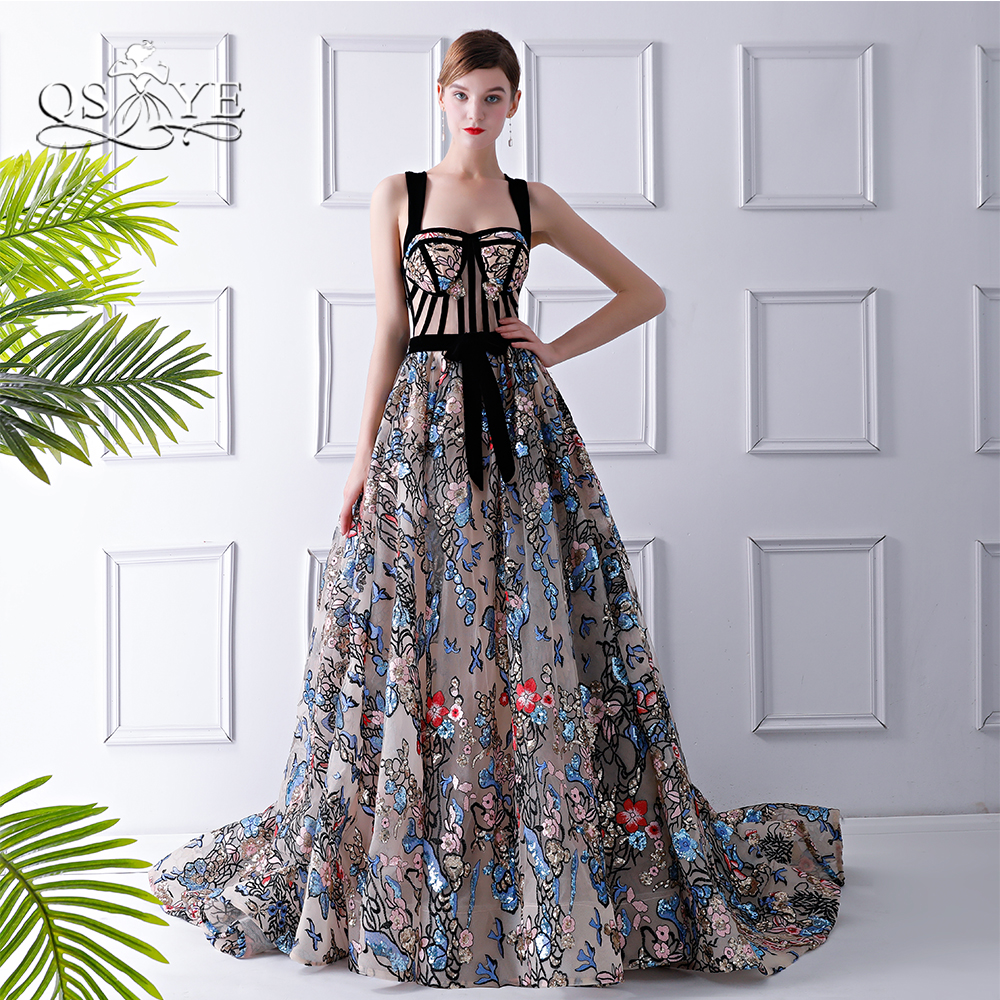 QSYYE 2018 New Arrival Lace Formal Evening Dresses Sweetheart Appliques Sweep Train Long Prom Dresses Robe de Soiree