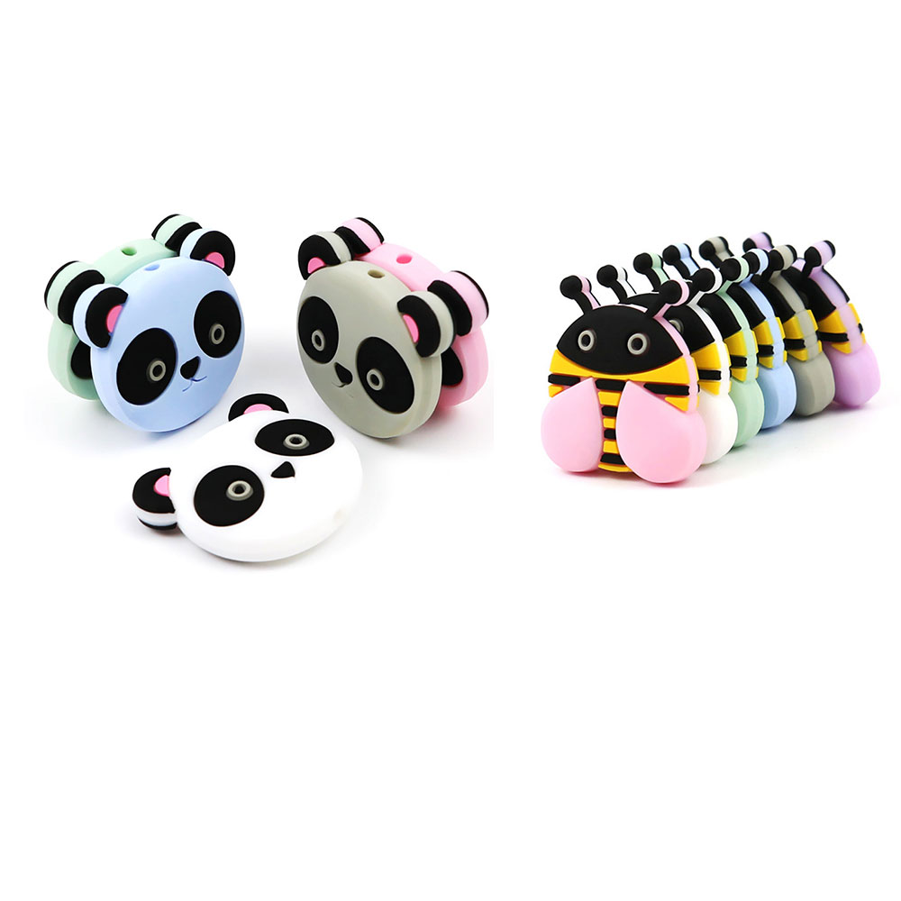 100Pcs Honeybee Panda Silicone Beads Animal Mordedor Silicona Beads For Jewelry Making Baby Products Silicone Kralen
