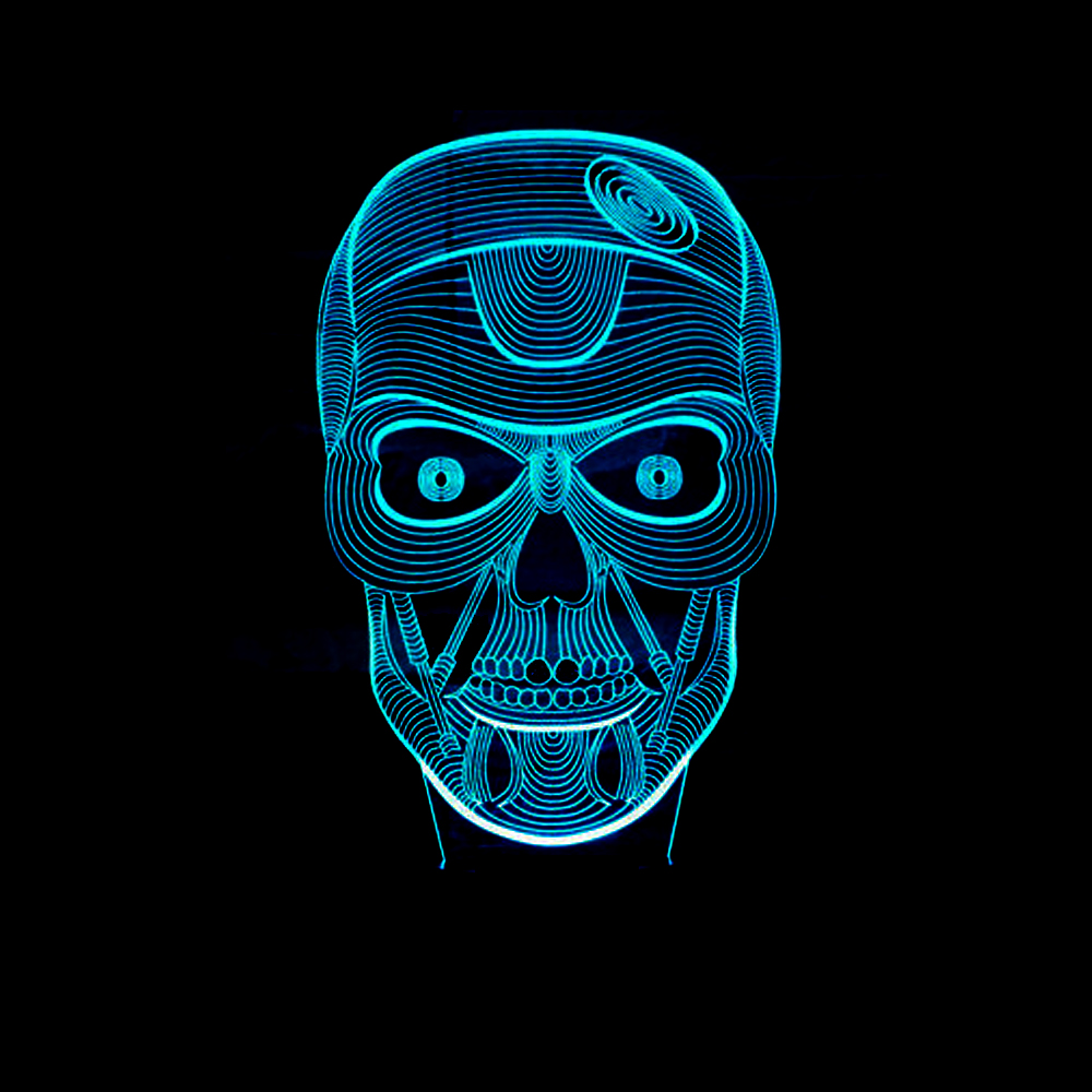 7 Colors Changing Bedroom Decor 3D Ghost LED Skull Shape Table Lamp Lamp USB Holiday Party Night Light Baby Sleep Lighting Gifts