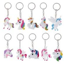 10 piezas llavero mixto lindo de silicona de dibujos animados unicornio llavero mujer hombro bolsa soporte encantador caballo encantos Animal llavero de juguete