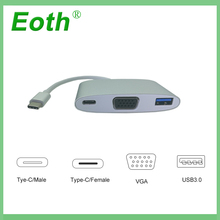 USB 3.0 Type-C to VGA/ USB3.0/ Type C Adapter Converter Cable USB 3.0 Hub Converter Charger Adapter for macbook apple USB-C цена в Москве и Питере