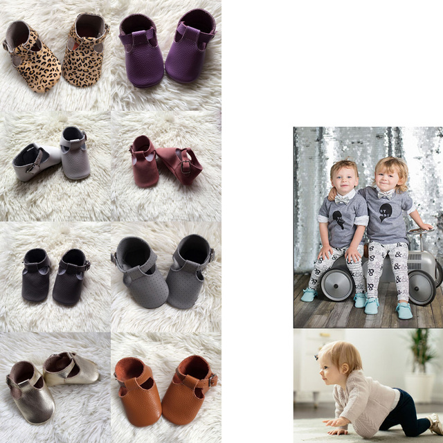 Handmade Genuine Leather Infant Shoe T- strap Baby Moccasins with Buckle