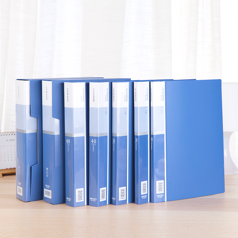 A4 Clear Book Display Book 7 Sizes 10 20 30 40 60 80 100 Pockets Transparent Pockets Blue Cover For Office Files Deli 5001