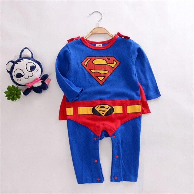 76b1b66e7 2016 new children Halloween costumes suit Baby Superman Batman Long Sleeve  Smock Infant Romper Girl Boy Clothing Sets