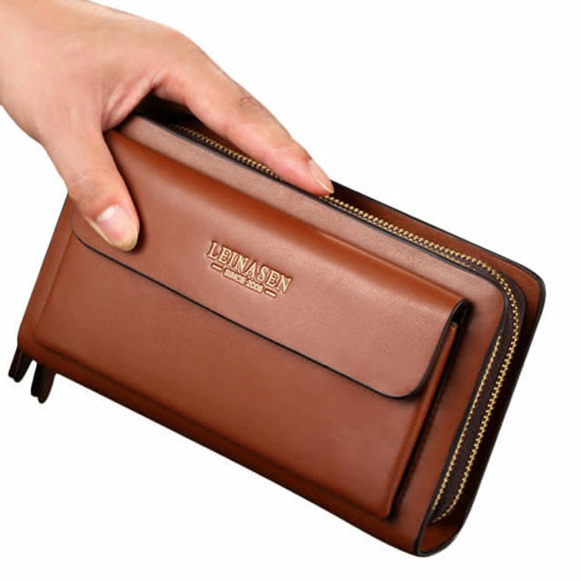 Fashion Men Business Clutch Handbag Pu Leather Waterproof Cell Phone Bag Wallet Holder Coin