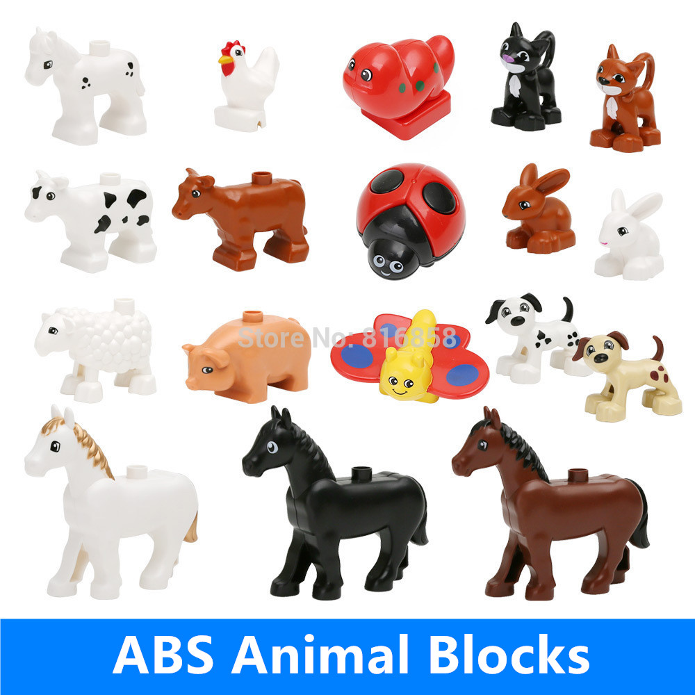 Retail Big Building Blocks Parts Pasture Animals Cow Dog Rabbit Cock Sheep Cat Pig Horse Butterfly Bettle Baby Educational Toys funlock duplo blocks toys farm animal figures bunny cat dog cow pony pig sheep rooster educational toys for kids gifts