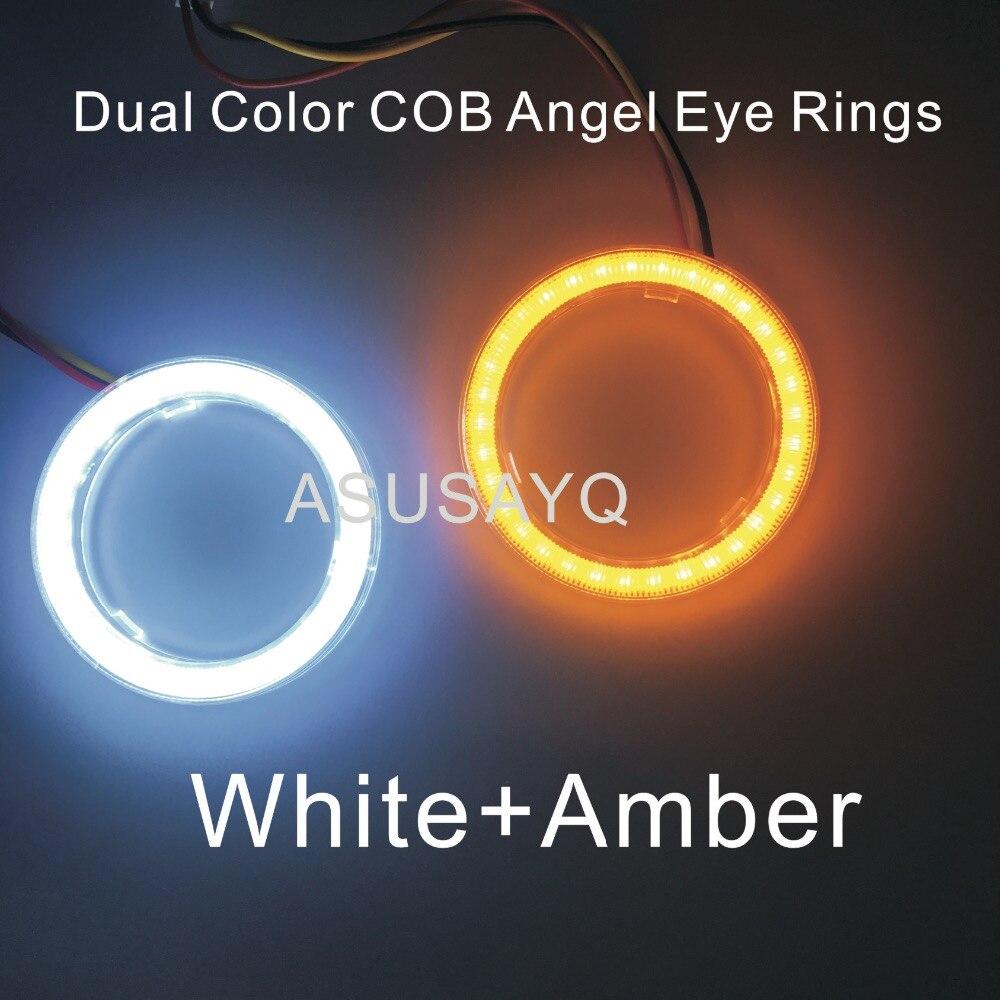 2 шт. двойной цвет авто фары Halo кольца световод ангел глаз Автомобиль Стайлинг COB SMD ангельские глазки с крышкой поворот лайтбелый янтарь